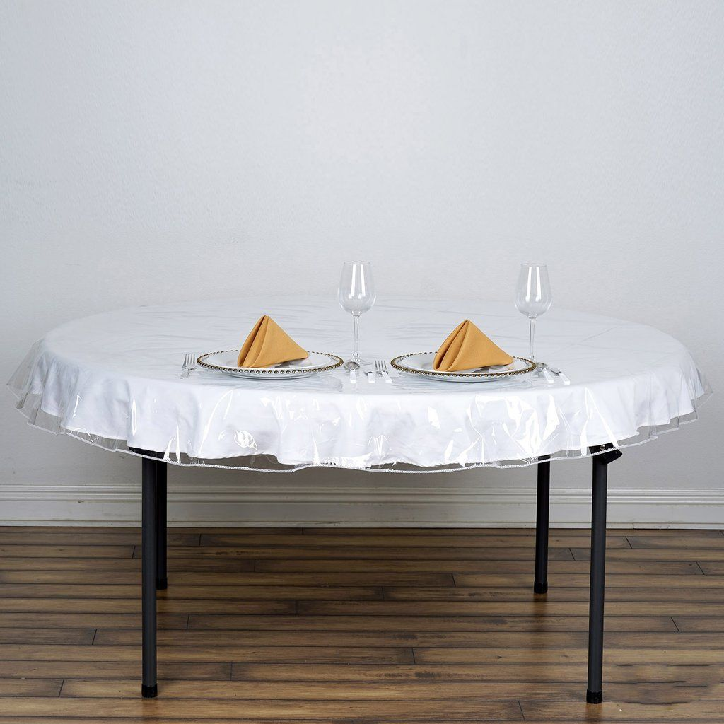 70 Clear 10 Mil Thick Eco Friendly Vinyl Waterproof Tablecloth Pvc Round Disposable Tablecloth In 2020 Table Cloth Table Covers Elegant Tablecloth