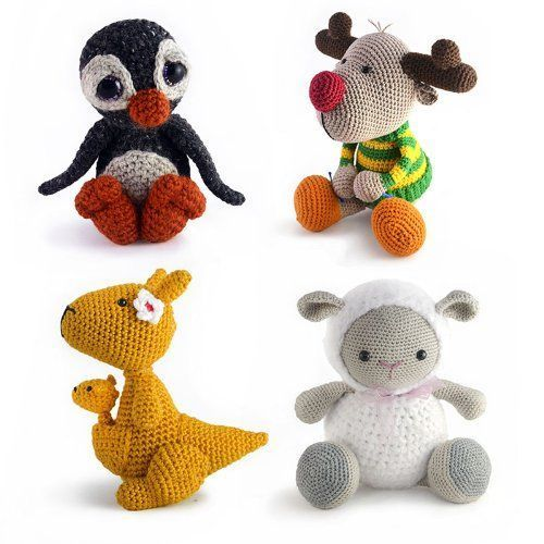 Animal Amigurumi Patterns - Penguin, Red-nosed Reindeer wearing a striped sweater, Kanga Roo with Joey, and Lamb
