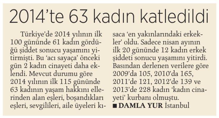 Gazetelerde 2009'dan bu yana kaç kadının KOCALARI tarafından öldürüldüklerine dair haberler okuduk? - Nisan 2014.