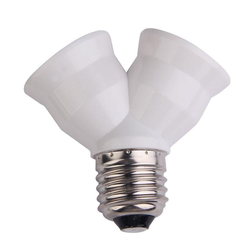E27 To Double E27 Socket Base Extender Splitter Plug Halogen Light Lamp Bulb Holder Copper Contact Adapter Converter I Bulb Adapter Light Accessories Lamp Bulb