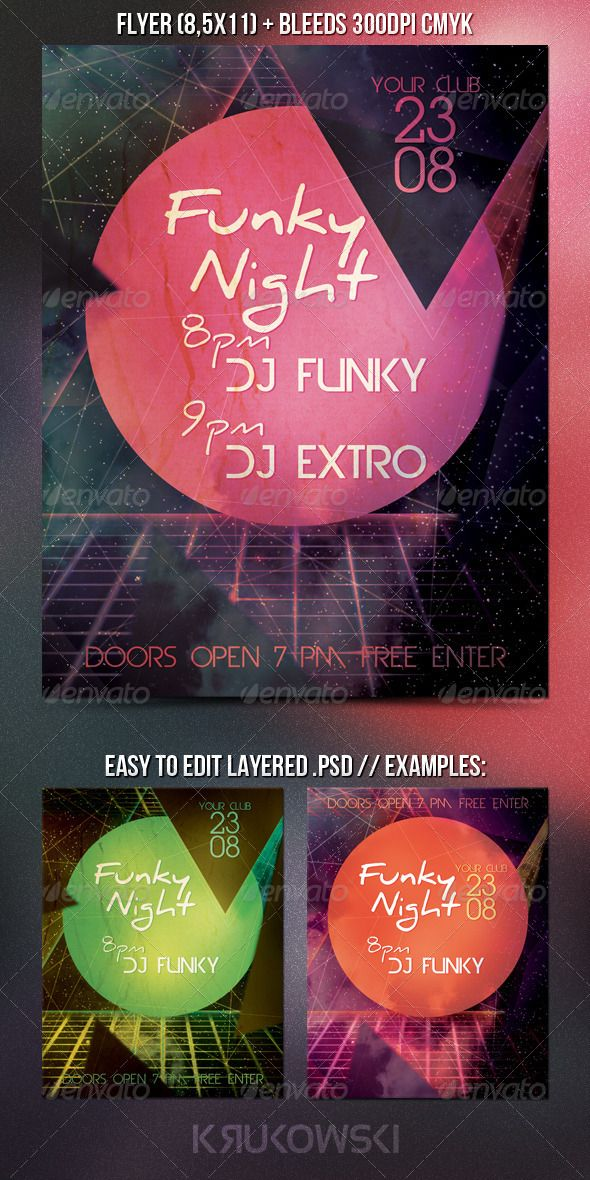 Retro Party Flyer Fonts-logos-icons Pinterest Print templates