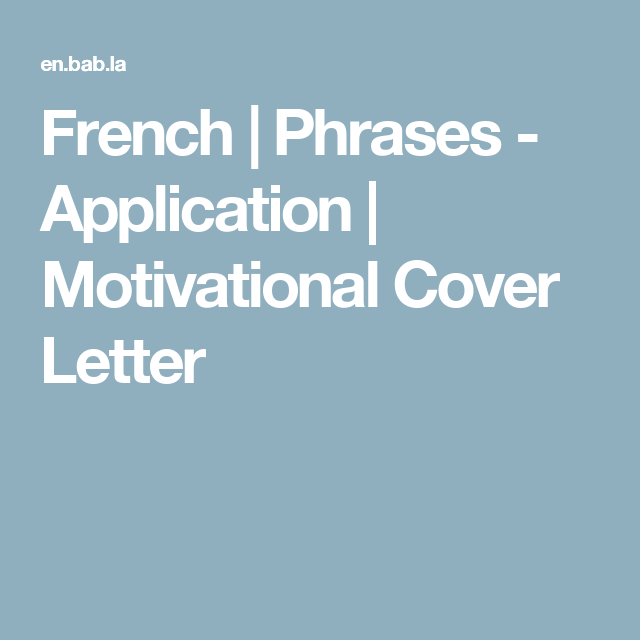 motivational cover letters