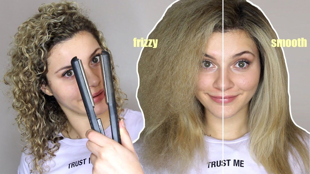 How To Straighten Curly Hair Without Frizz Youtube Straightening Curly Hair Curly Hair Styles Straightening Hair Tips