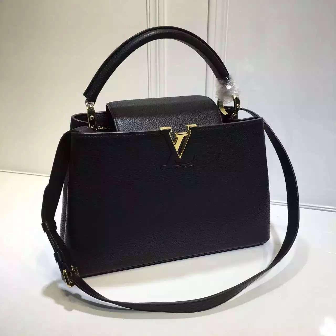 Louis Vuitton Grained Calfskin Multicolor Capucines PM Bag Black (Gold  Hardware) a876adcb2f
