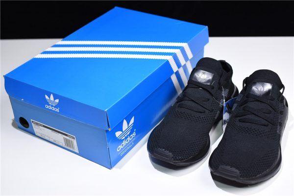 ca8e2d9741c Men s Adidas Originals Swift Run Primeknit Triple Black Shoes CQ2893-2