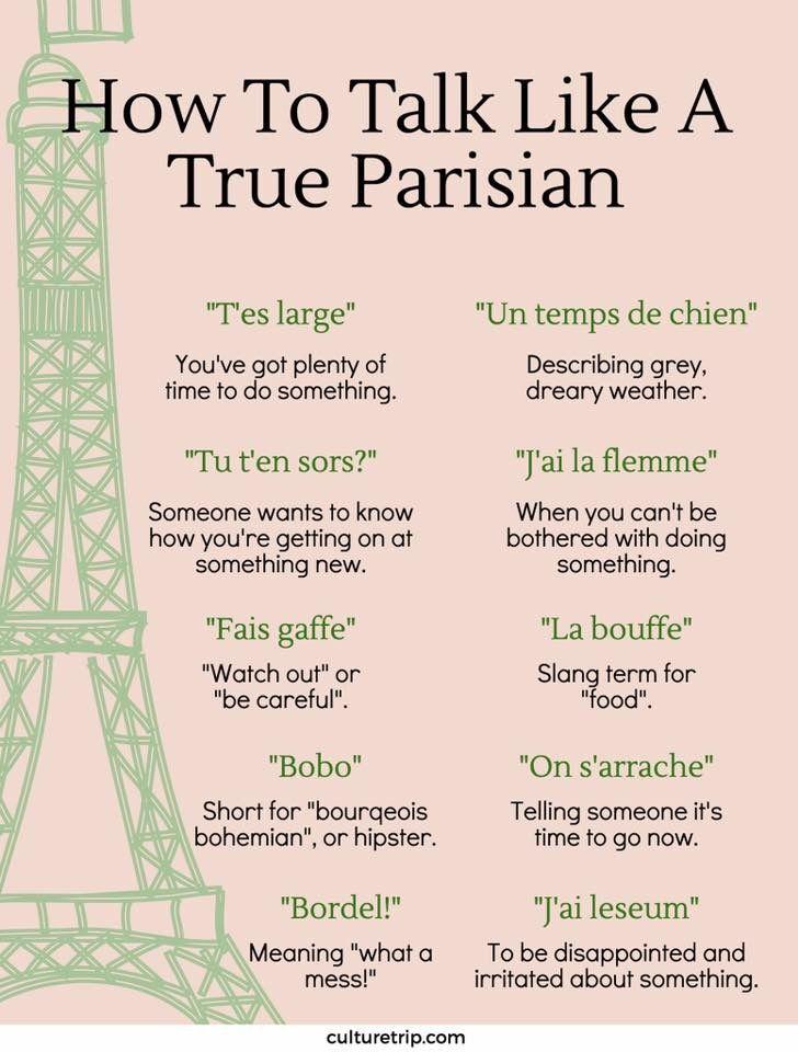 Francais How To Talk Like A True Parisian How To Speak French