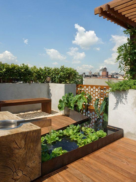 Dachterrasse Gestaltung-Ideen Holz Boden Belag Sitzbank Feng ...