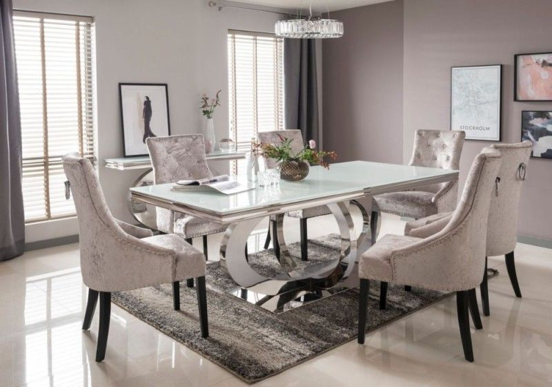 Our Beautiful Las Vegas Collection Would Make A Stunning Statement In Any Home Stunning Chr White Glass Dining Table Chrome Dining Table Glass Top Dining Table