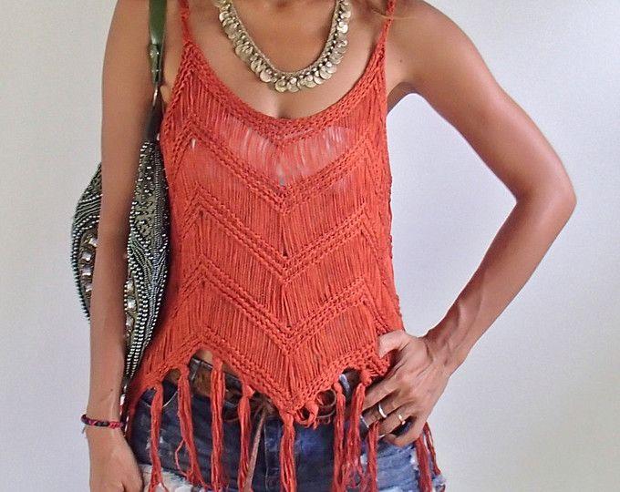 Handmade Crochet Fringe top with Vintage Jewelry/Boho Top | Beige ...