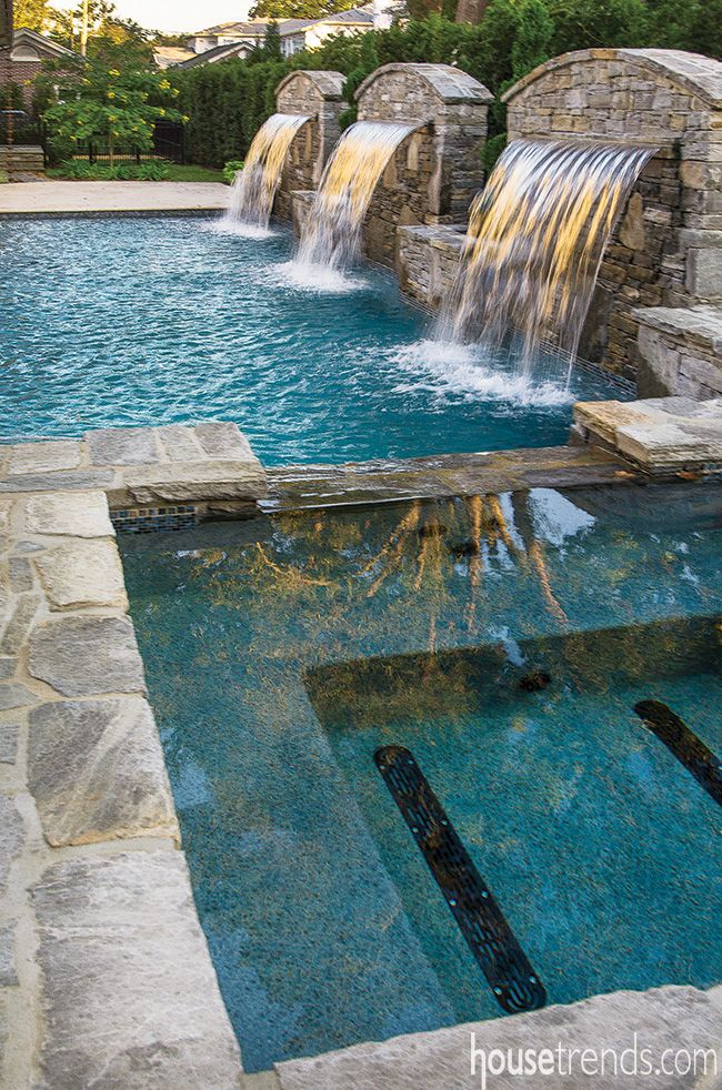 Rectangle Pool Water Feature Sun Deck   Google Search