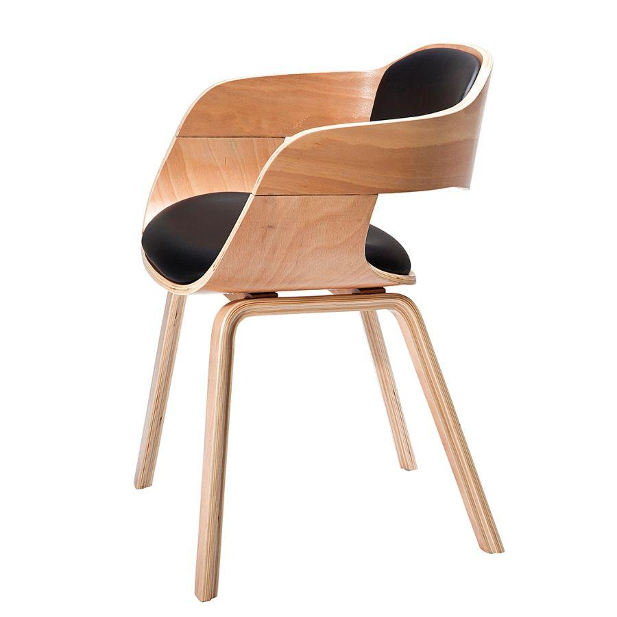 Chaise Avec Accoudoirs Costa Hetre Massif Imitation Cuir Chaise Accoudoir Chaise Chaise Bois Design