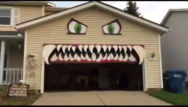 Halloween spooky garage door outdoor decorations trick or treat fall - halloween garage ideas