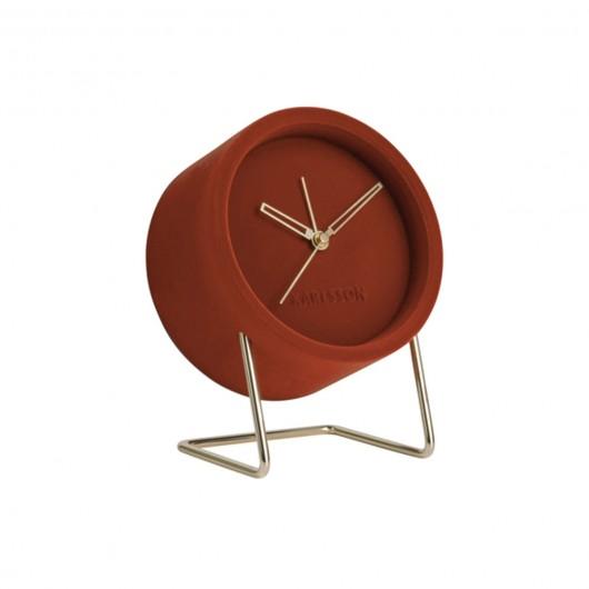 Reveil Lush Velours Marron Present Time Horloge, Réveil