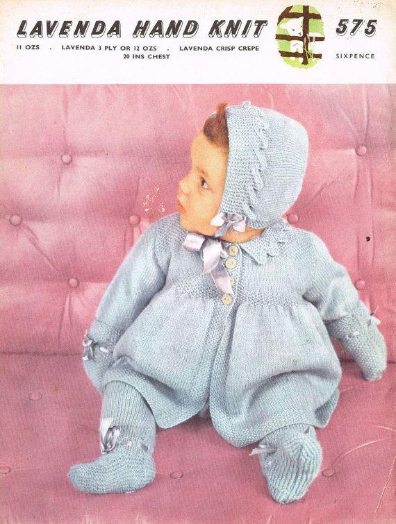 0655e74e211a Lavenda 575 pram suit vintage baby knitting pattern by Ellisadine ...