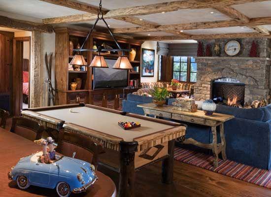 Faure Halvorsen Architects Recreational Room Mountain House Decor Rustic Family Room