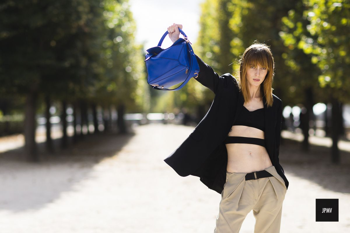 Model Teddy Quinlivan wearing a Loewe Bag during Paris Fashion Week Spring Summer 2017