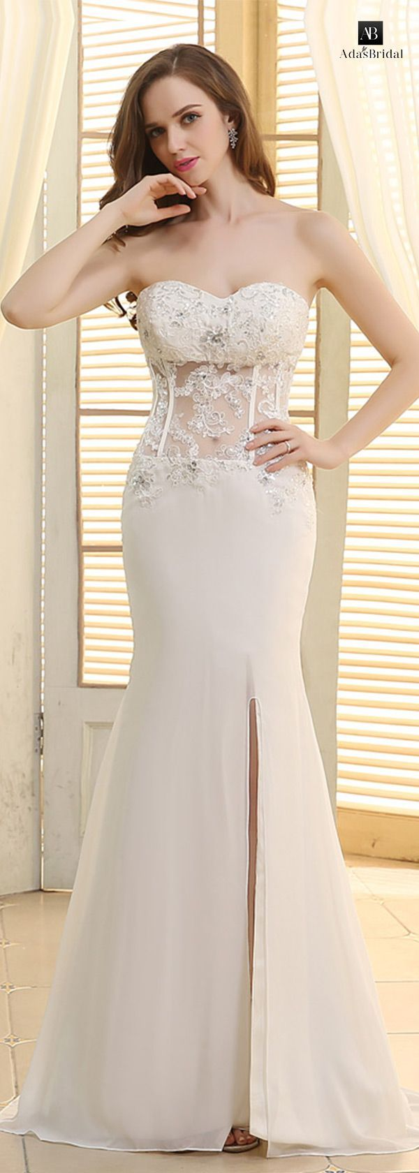 Mermaid wedding dresses amazing chiffon sweetheart neckline see