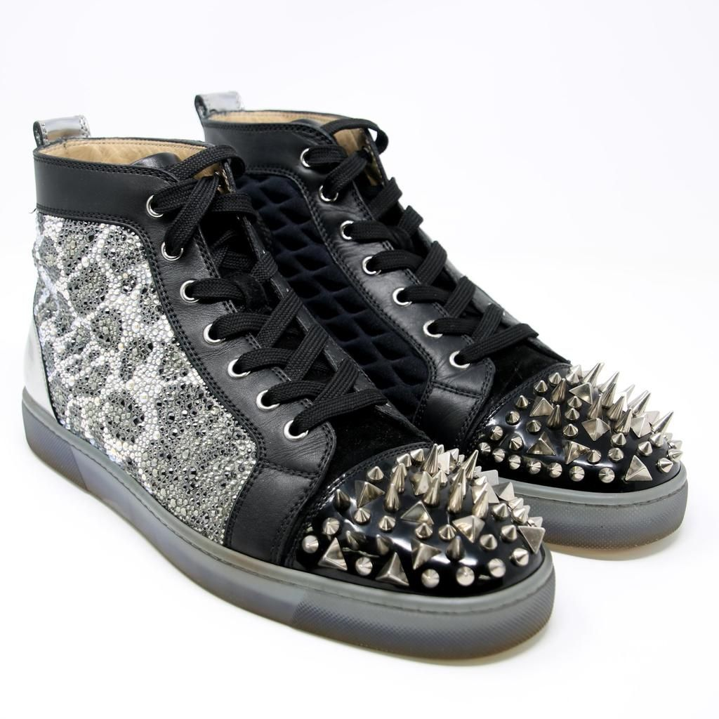 wholesale dealer dd767 badc2 Christian Louboutin Strass Silver Spikes 'No Limit' High Top ...