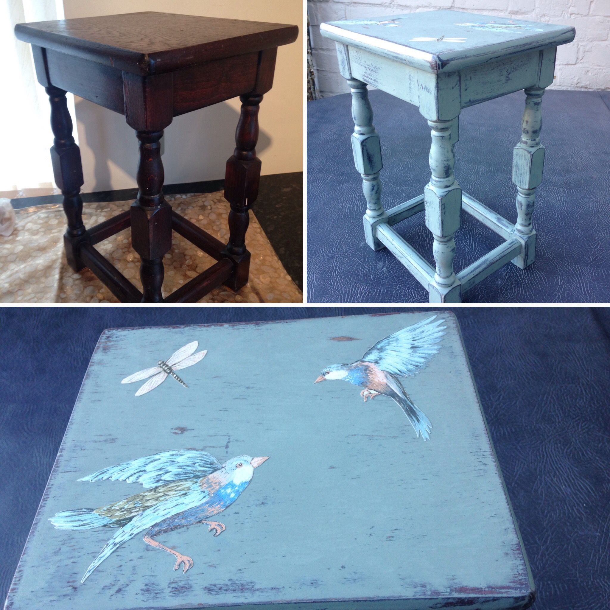 Annie Sloan - Duck Egg Blue with beautiful birds and dragonfly. Distressed, waxed and decoupage.