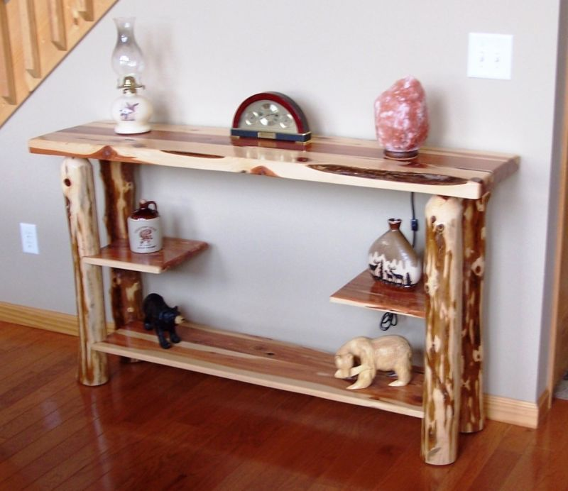 Sofa Table - Rustic Red Cedar Hancrafted Log Furniture - AWESOME ...