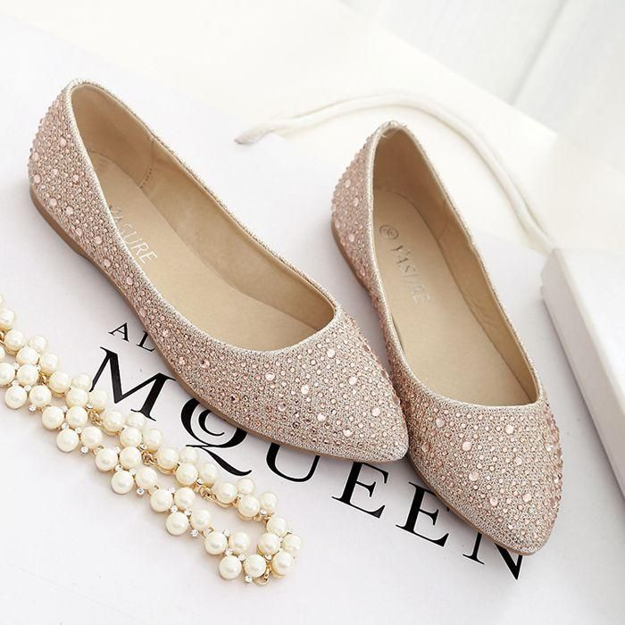 Check out our website for nice shoes and find good Shallow flat pointed  shoes bridesmaid shoes rhinestone champagne banquet Joker fashion feet  female ... ce485b8c00c7