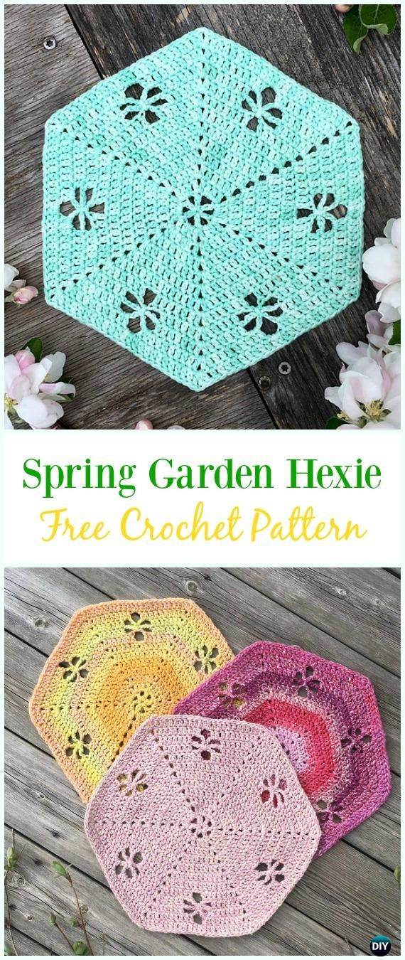 Crochet Spring Garden Hexie Free Pattern Crochet Hexagon Motif