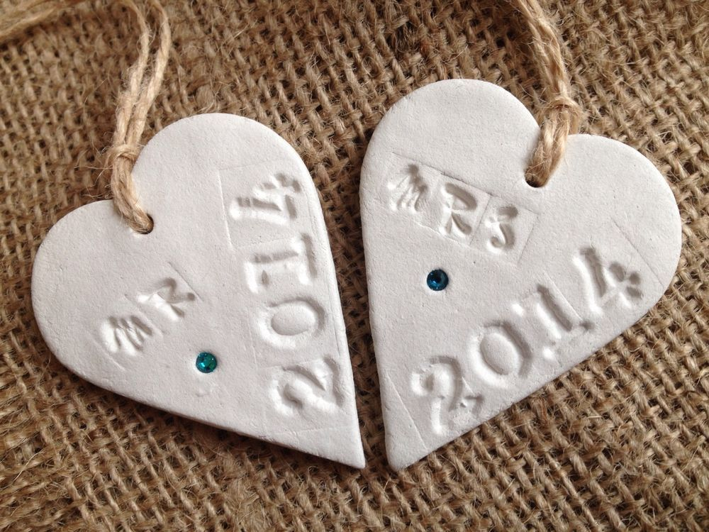 Handmade Clay 'MR & MRS 2014' X 2 Hanging Sign Plaque Decor Shabby Chic Wedding in Home, Furniture & DIY, Home Decor, Plaques & Signs   eBay