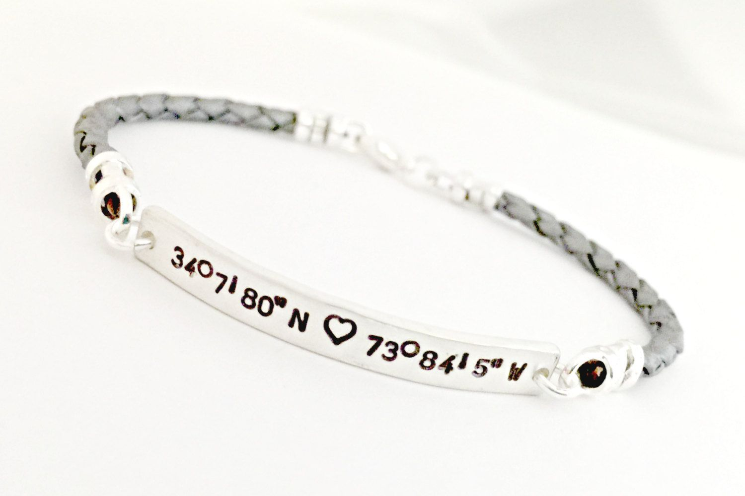 d64e4108217c0 Coordinates Bracelet - Hand Stamped Custom Braided Leather Sterling ...