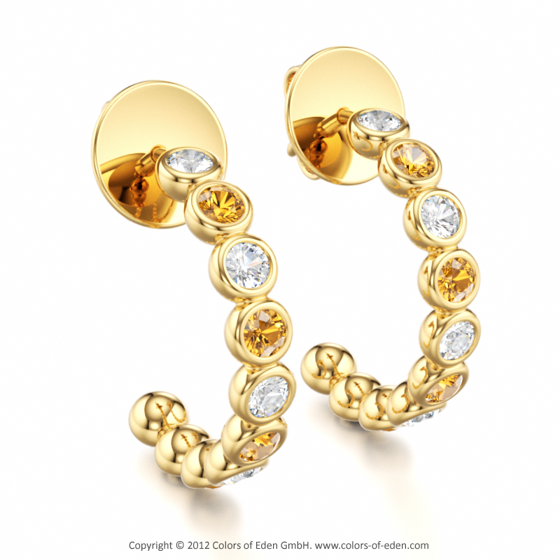 Allegro Earrings with Round Citrine stones and Round Diamonds in 14k Yellow Gold.
