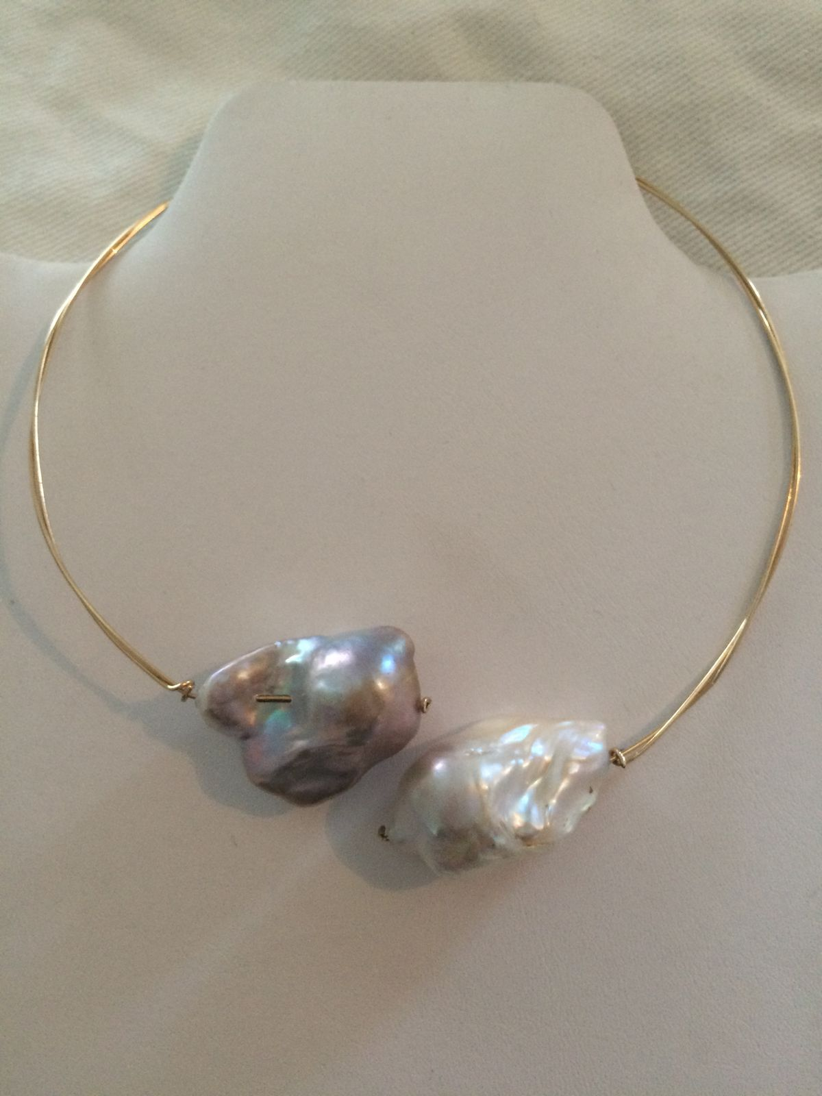The Giant 2 Pearl 24 karat gold filled wire wrapped necklace...up on the website and ready to order!