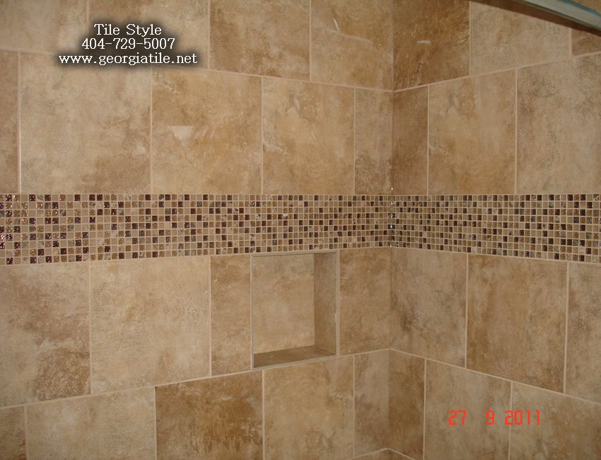 Shower Tub Tile Designs Shower Niche Corner Shelf Glass Tile