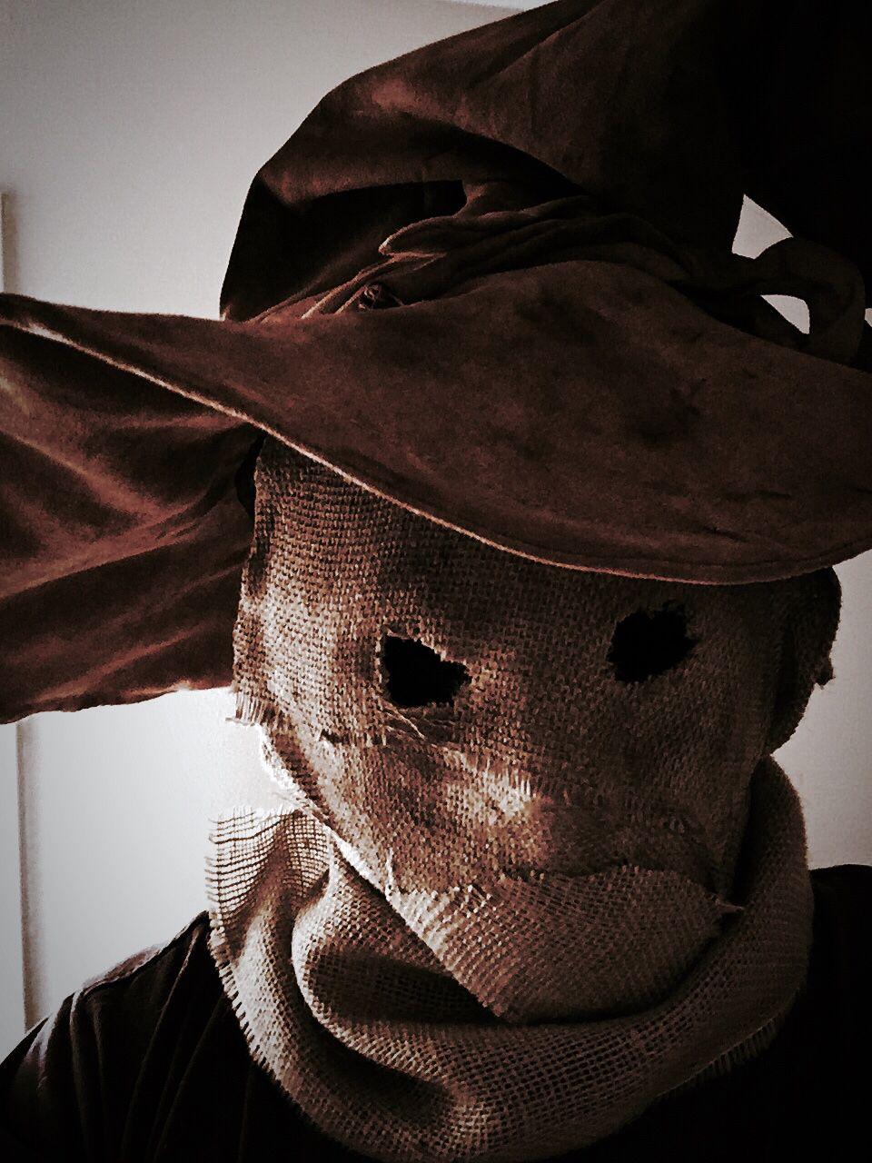 Homemade burlap Scarecrow mask Scarecrow mask, Creepy