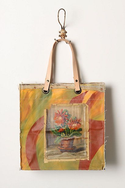 love these bags made with real vintage oil on canvases   from Anthropologie