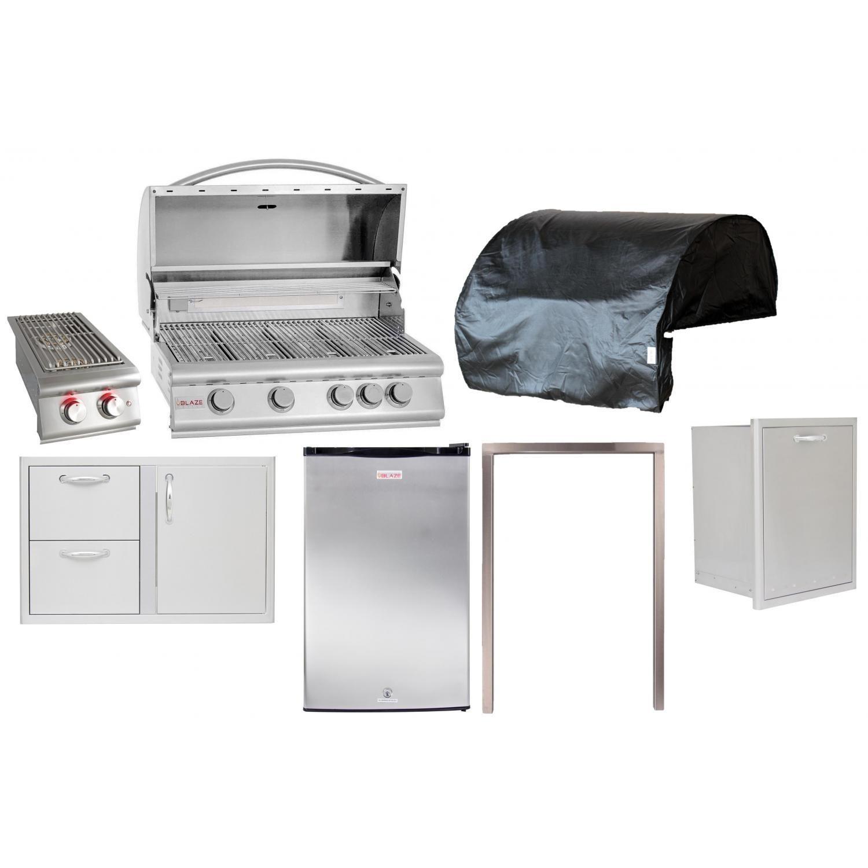 Blaze 7 Piece 32 Inch Propane Outdoor Kitchen Package Bbqguys Outdoor Kitchen Outdoor Kitchen Design Built In Gas Grills