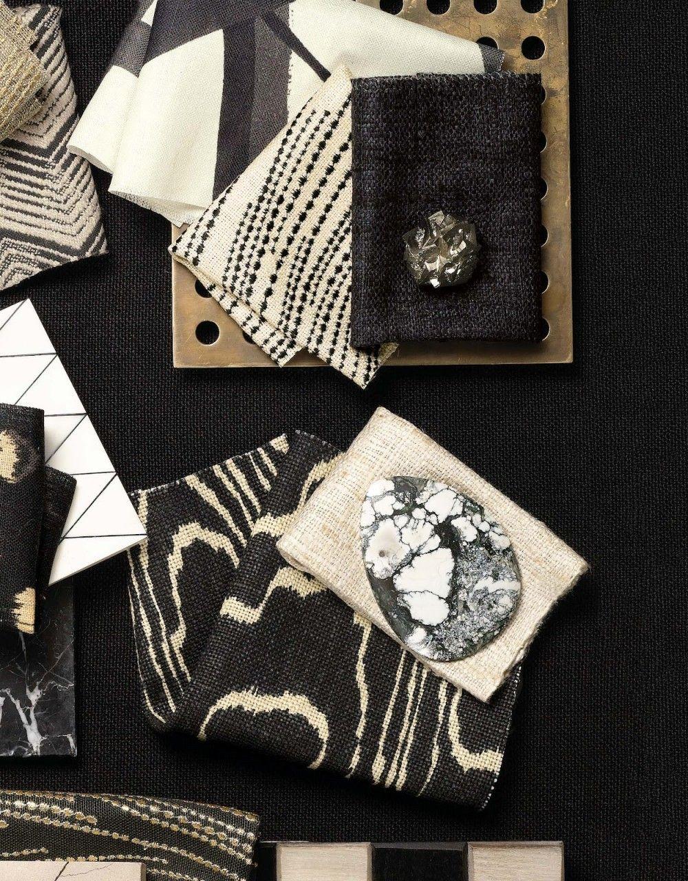 Kelly Wearstler - Background: Sunbleached-Ebony. Top left: Tempest-Truffle, Channels-Ebony/Ivory, Currents Silk-Ebony/Oatmeal, Sonoma-Ebony, Sonoma-Oatmeal, Agate-Ebony/Beige, Currents Linen-Ebony/Gold, Sunbleached-Ebony