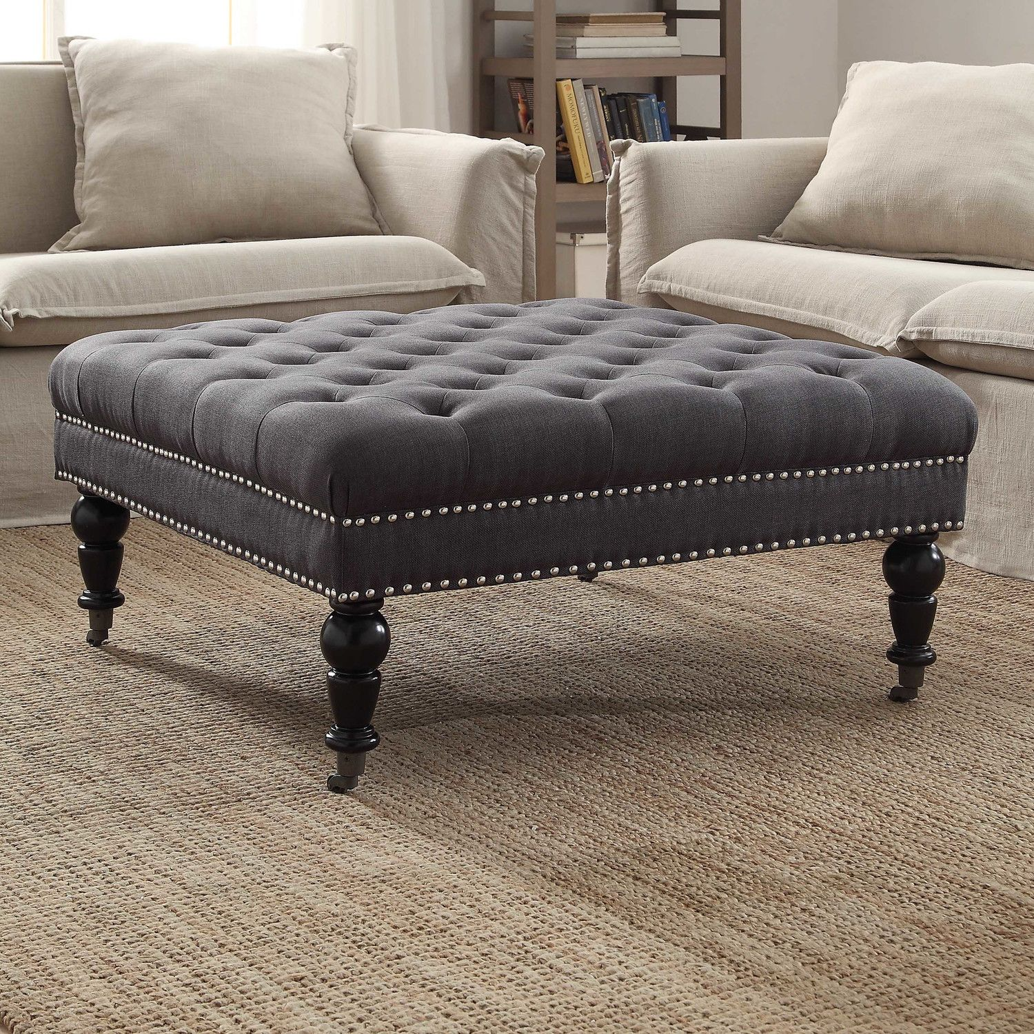 10 Cream Tufted Ottoman Coffee Table Pics In 2020 Leather
