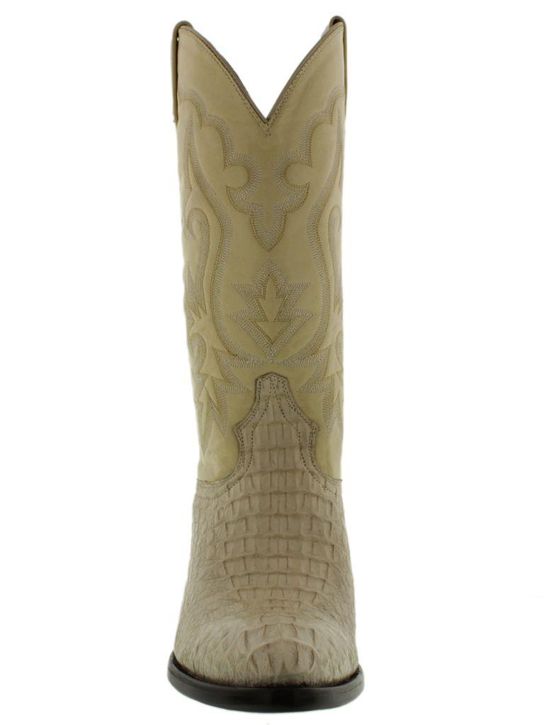 Hand Made Mens Crocodile Alligator Back Cut Leather Cowboy Western Square Toe Boots Black