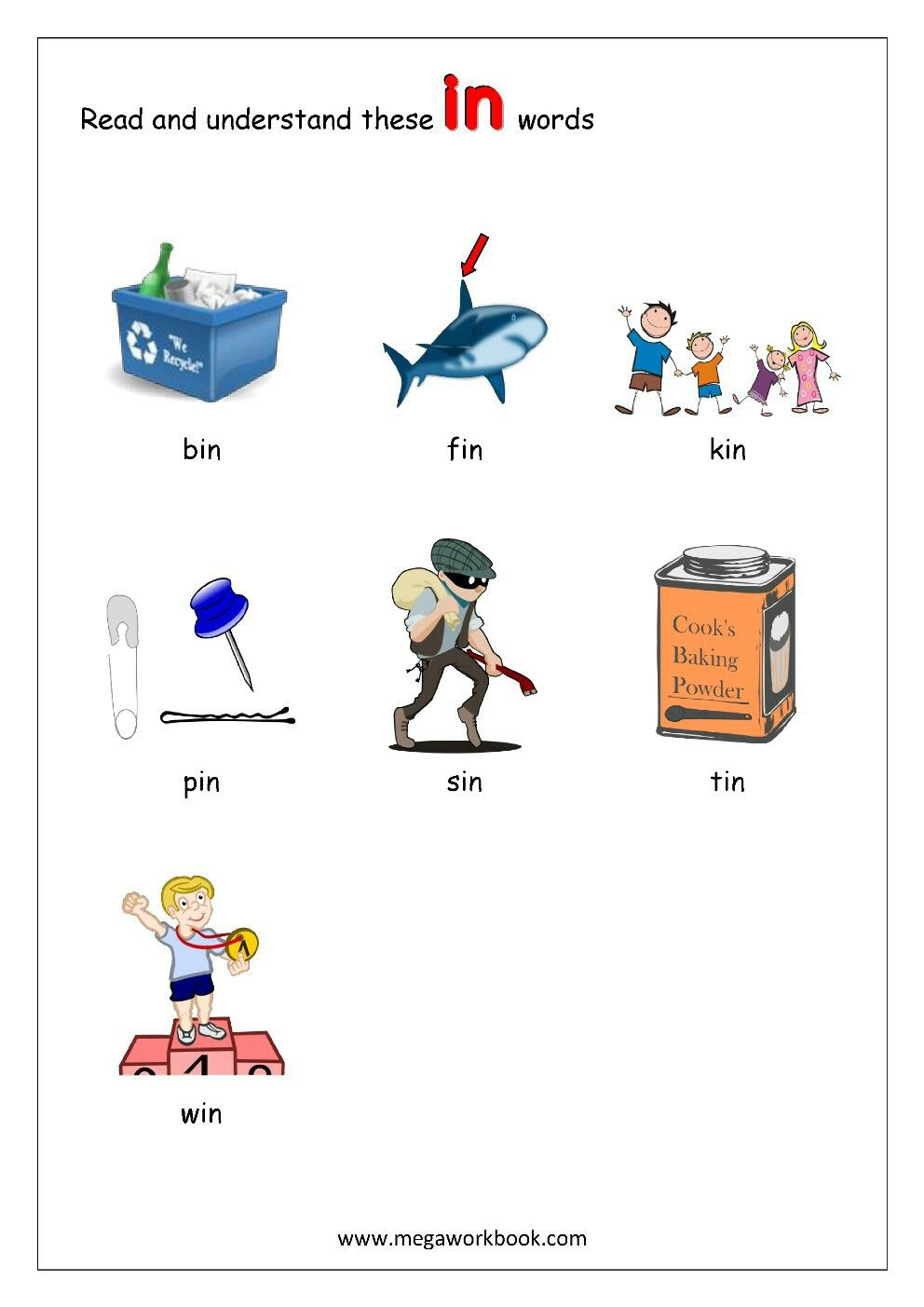 3-letter Rhyming Words ending with 'in' (CVC words, Sight words