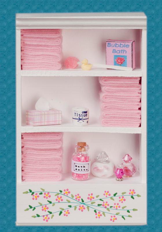 Dollhouse Miniature Wood Bathroom Wall Storage  Cabinet Miniatures for Doll Hous