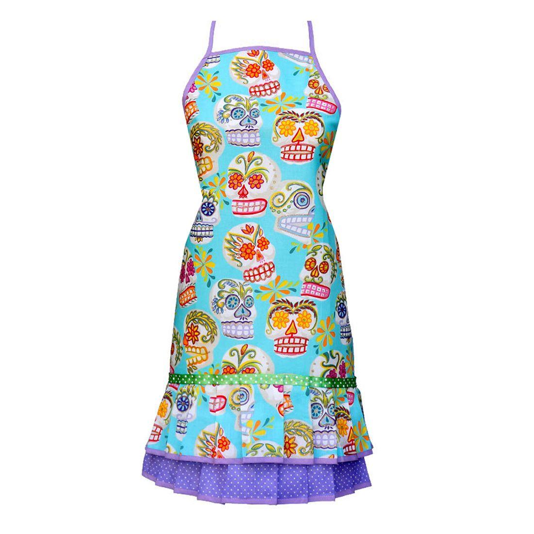 Calavares Turquoise Fifi apron  #sugarskull #dayofthedead #skulls #skeleton #gifts #homeware #homedecor #apron #retroapron #retro #kitchen #baking #chef