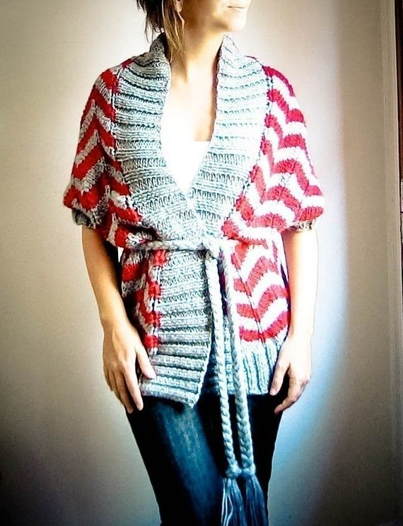 hand knit cardigan vest ZIG ZAG in grey and red wool by ovejanegra, $135.00