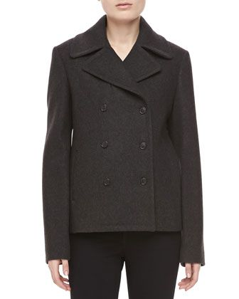 Felted Melange Wool Pea Coat, Charcoal   at Neiman Marcus.
