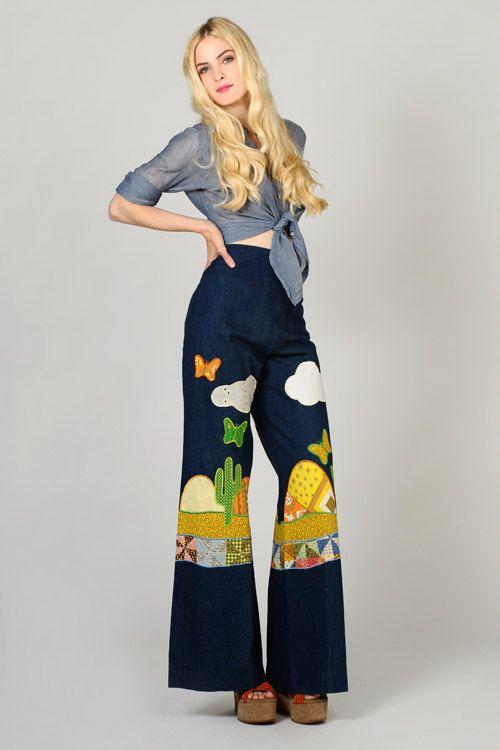 vintage 70s PATCHWORK denim Bell Bottom High waisted Jeans M