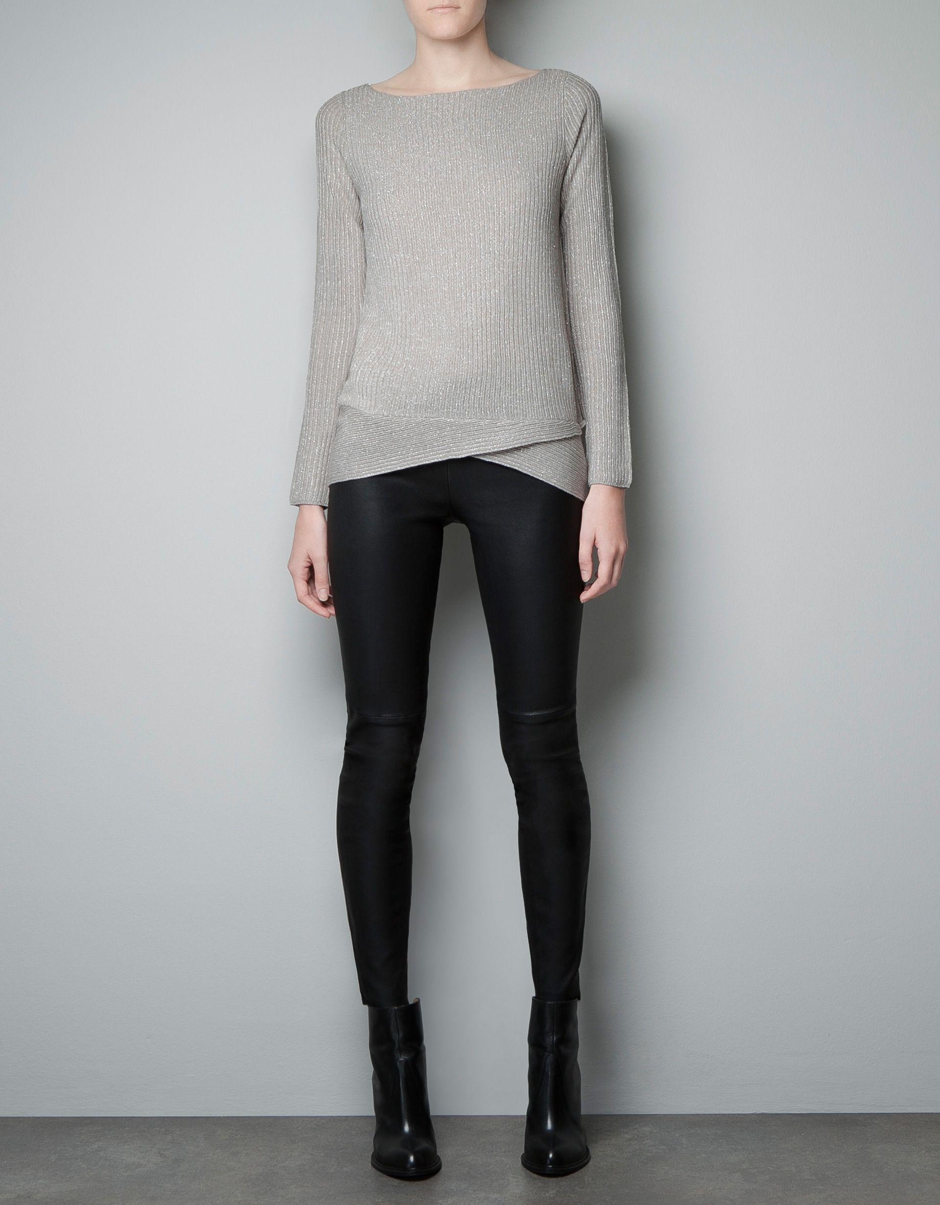 432b77adff2683 METALLIC RIB KNIT SWEATER WITH ASYMMETRIC HEM - Knitwear - Woman - ZARA  United States