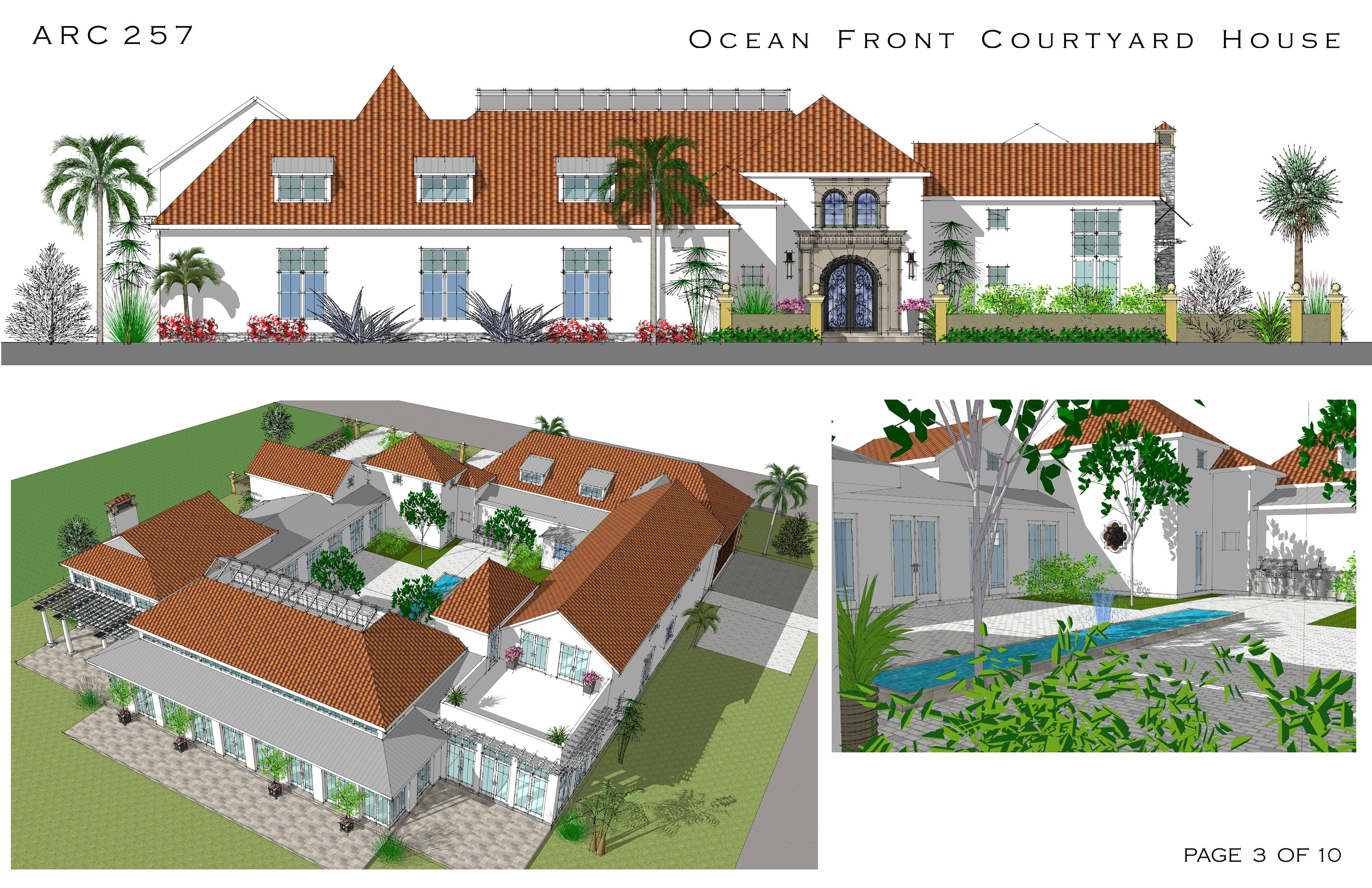 Spanish style courtyard homes cocoa beach florida for Multi family house plans with courtyard