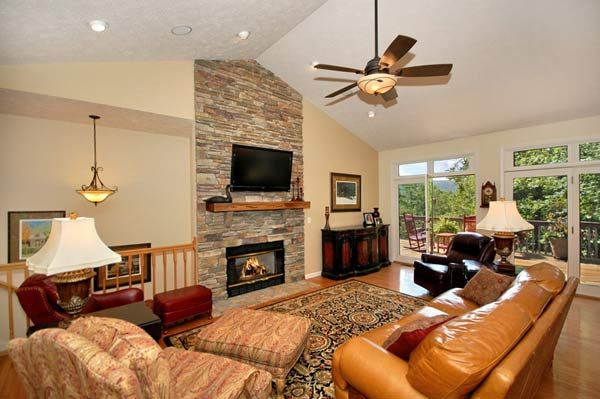 Floor To Ceiling Stone Fireplace Vaulted Ceiling White