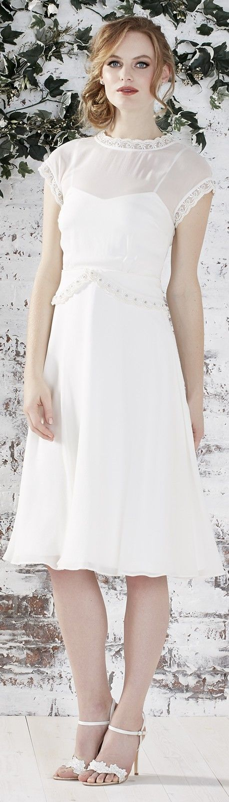 A short or tealength wedding dress is always perfect for