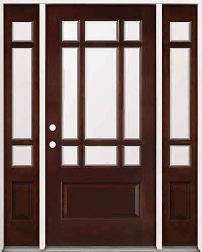 Classic 9 lite mahogany french front entry door with for French doors exterior cheap