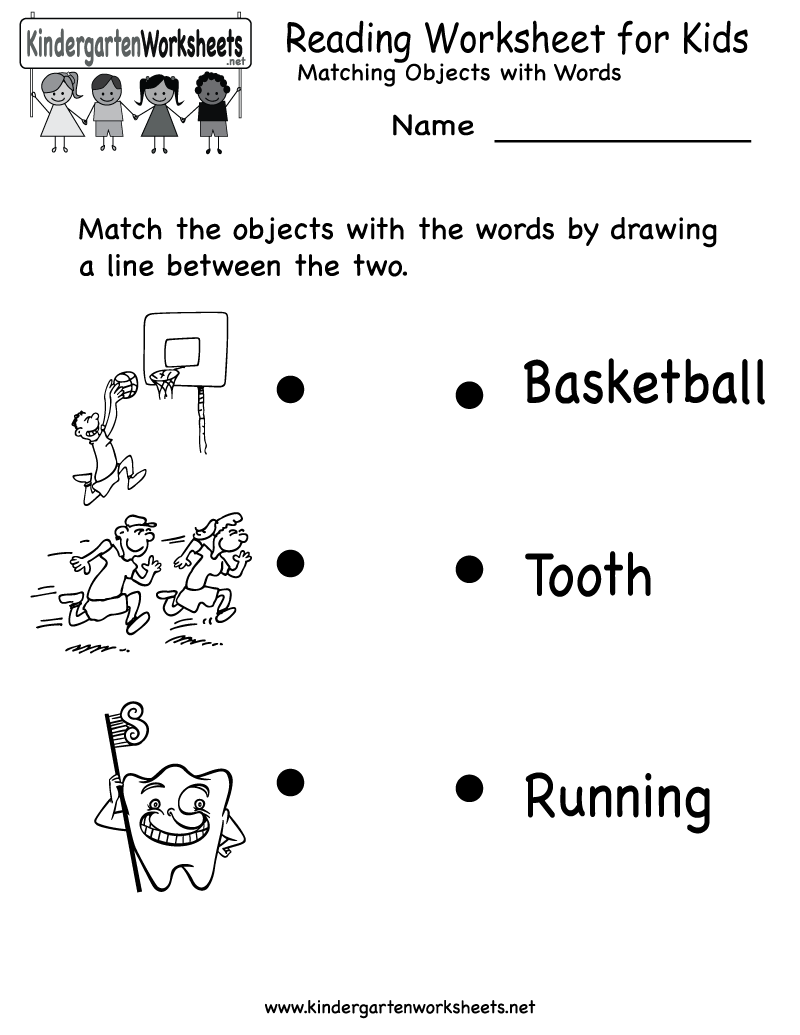 Worksheet For Kids: Kindergarten Reading Worksheet for Kids Printable   Worksheets    ,