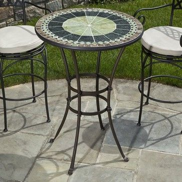 Round Mosaic Bar Height Bistro Table Contemporary Outdoor Tables